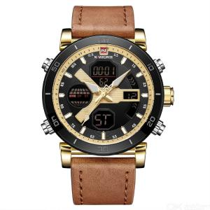 NAVIFORCE 9132 Waterproof Sports Mens Quartz Wristwatch Watch With Leather Strap