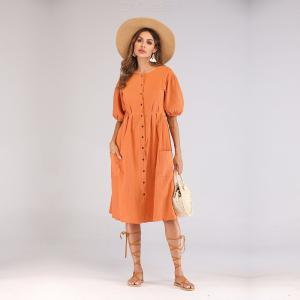 6538 Casual Cotton And Line Double-breasted Womens Dress With Buttons And Pockets Design For Summer Travel