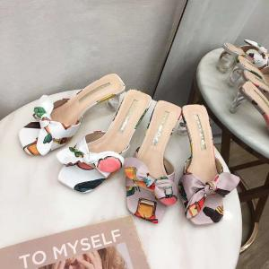New Style Line Straps Butterfly-shaped-bun Thick High Solid Crystal Heels Sandals