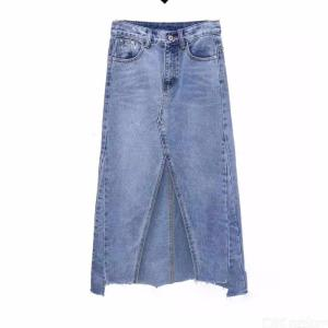 Casual Solid Color A-Line Knee-Length Ladys Jean Skirt Model 6209