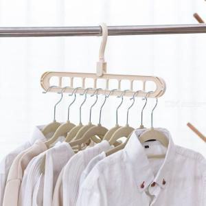 Multi-functional Folding 9-hole Clothes Hanger For Household Balcony Magic Creative Rotary Anti-skid Clothes Hanger