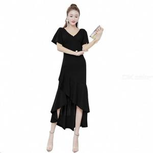 Women's Evening Gown V-neck Empire Waist Bodycon High-low Flared Ruffled Maxi Dress For Wedding Cocktail Party Banquet