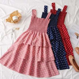 Midi Dress Summer Sweet Off The Shoulder Strap Dress With Polka Dot Pattern For Women