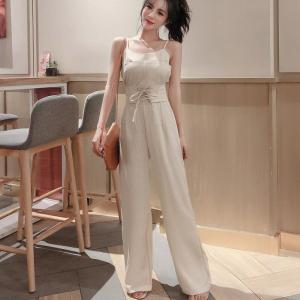 Women's Jumpsuit Summer Casual Sleeveless Spaghetti Strap Plaid Jumpsuit Straight Wide Leg Trousers Rompers