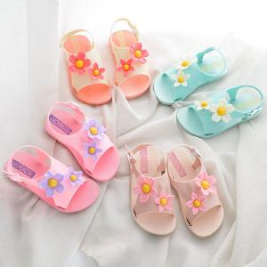 Girls Floral Open-toe Sandals Casual Outdoor Flat Beach Sandals