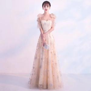Women's Gown Dress Empire Waist A-Line Maxi Dresses With Exquisite Pattern For Wedding Cocktail Party Prom Banquet