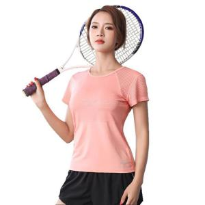Round Neck Short Sleeve Mesh Hollow-Out Quick Dry Womens T-Shirt Top For Running Sports Yoga