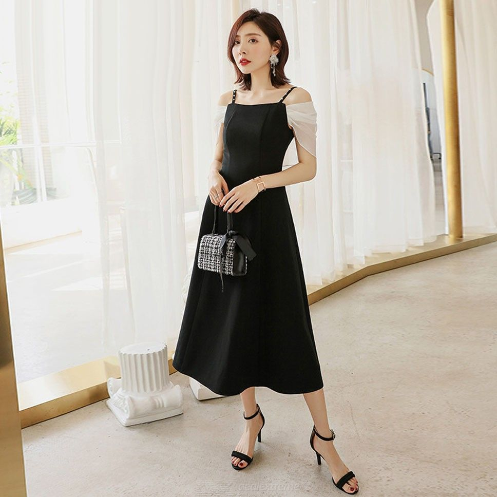 Spaghetti   Summer   Sleeve   Party   Pearl   Block   Strap   Color   Dress   Lady   Faux