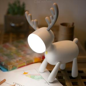 Cartoon Lovely Elk Reindeer Silicone USB Rechargeable Reading Table Lamp  Night Light For Bedroom