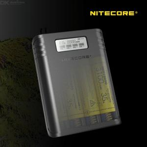 Nitecore F4 2-in-1 4-Slot Battery Charger (Batteries Not Included) And Power Bank With LCD Display