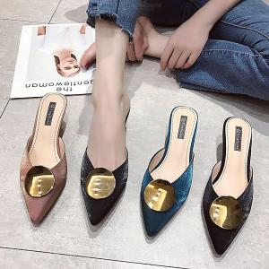 Womens Sharp Low Heels Stylish Pointed Toe Slip On Sandals With Metallic Applique