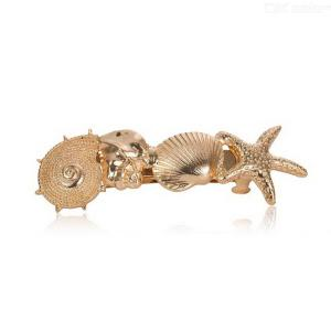 Natural Style Metal Hair Pin Stylish Metal Barrettes With Shell And Starfish