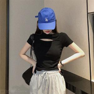 Womens Casual Solid Blouses Tops Short Sleeve Slim Shirts