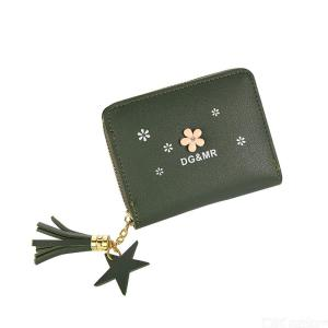 Women's PU Leather Wallet With Tassel Pendant Zipper Closure Card Holder Note Compartment Zipper Pocket