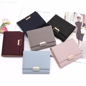 Women's PU Leather Wallet Purse With Snap Button Closure Card Photo Holder Note Compartment Zipper Pocket