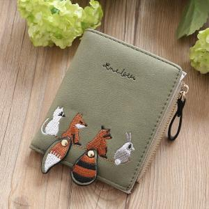 Women's PU Leather Wallet With Embroidery Pattern Snap Button Closure Card Photo Holder Note Compartment Zipper Pocket