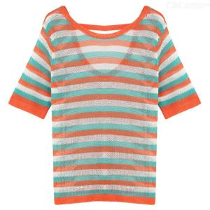 Womens Multicolored Striped Top Casual Loose Short Sleeve Rainbow Stripe Top