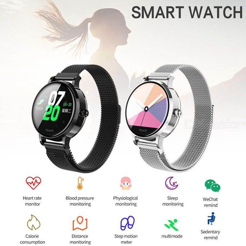 S9 IPS Color Screen Fashion Smartwatch Heart Rate Blood Pressure Monitor  Waterproof Fitness Tracker for Android IOS