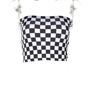 Sexy Chess Print Tube Top Contrast Plaid Strapless Top