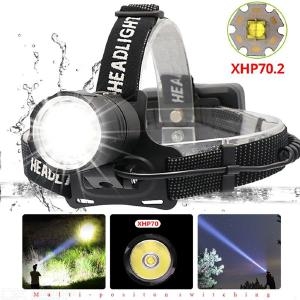70000lm Super Bright Led xhp70.2 USB Headlamp 3 Modes Rechargeable Waterproof Outdoor Headlight for Fishing Emergency