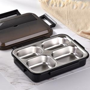 304 Stainless Steel Lunch Box 4 Grids Portable Leakproof  Food Container For Office School