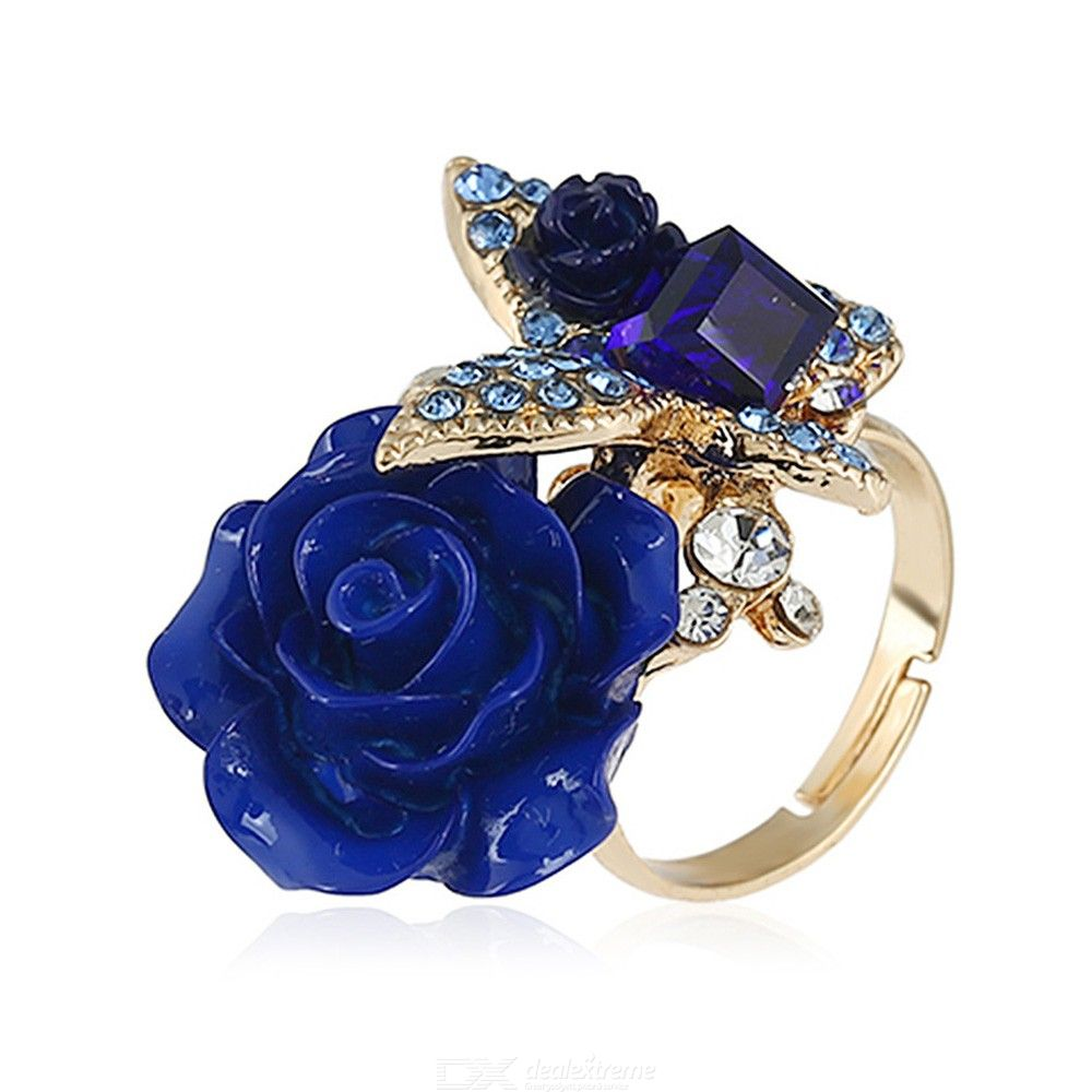 Exquisite Retro Rose Ring With Butterfly Pattern Creative Female European And American Jewelry For Party
