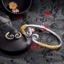 Fashion-Adjustable-Couple-Bangle-Cuff-Silver-Plated-Embossed-Opening-Bracelet-For-Women-Jewelry-Gift