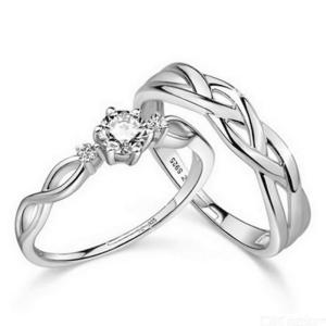 2PcsSet Fashion Silver Plated Love Intertwined Opening Adjustable Rhinestone Couple Ring