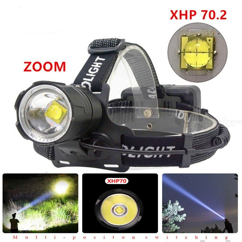 80000LM Super Bright Led xhp70.2 USB Headlamp 3 Modes Rechargeable Zoom Waterproof Headlight for Outdoor Emergency