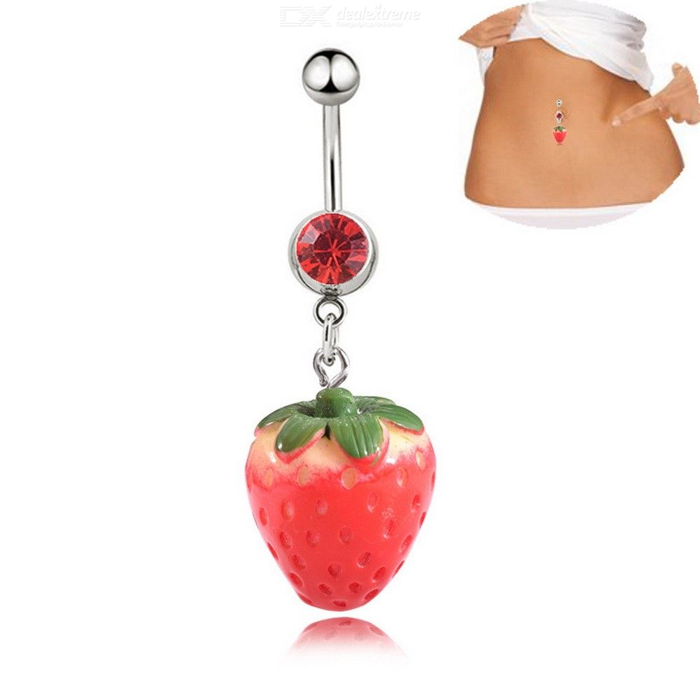 Cute Fruit Strawberry Belly Button Ring Surgical Steel Navel Rings Body Piercing Jewelry For Women
