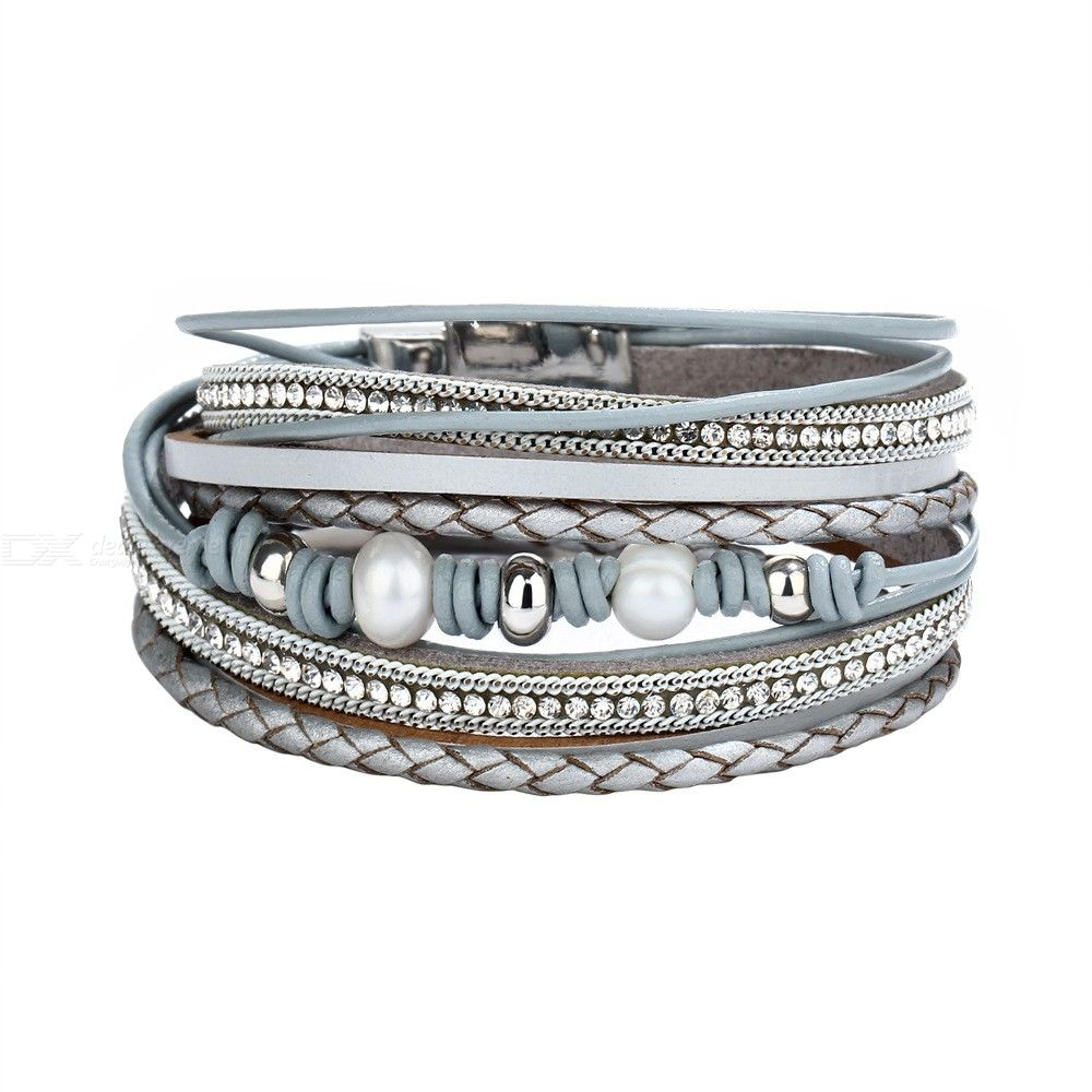 Multi-Layer Leather Bracelets Magnetic Buckle Bracelet Beads Rope Wrap Jewelry For Women