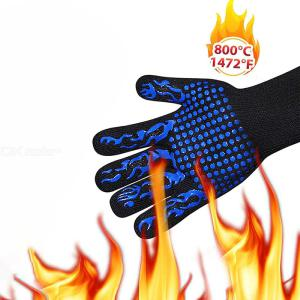 1Pc Heat Resistant Gloves For 800 °C Fire Proof LeftRight Hand Protection For Kitchen Baking Fireplace Barbecue BBQ Pots