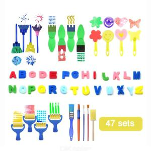 47PcsSet Baby Drawing Sponge Brushes Suit, Kids DIY Flower Sponge Art Graffiti Brush Painting Tool Educational Toy