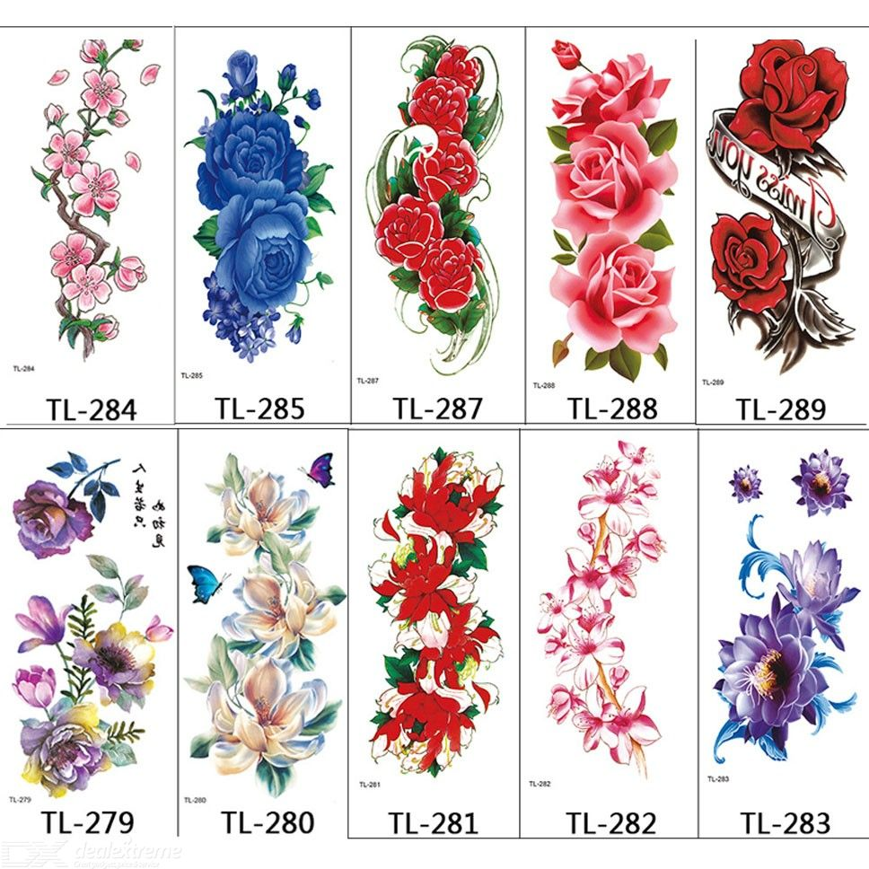 10 Sheets Different Flowers Temporary Tattoo, Gorgeous Colorful Waterproof Art Fake Tattoos Sticker For Womens Girls Rose Peony
