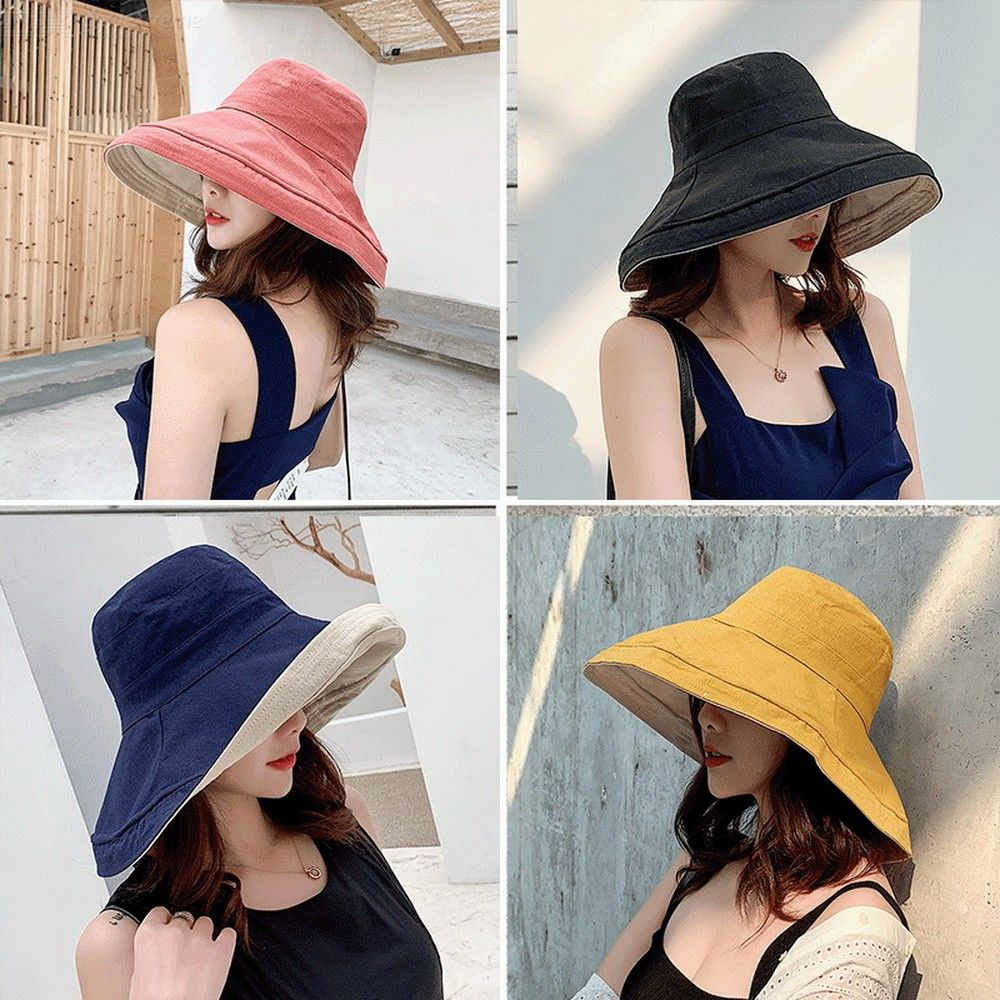 Folding Wide Brim Bucket Hat Summer Fisherman Hats Solid Color Sun Cap For Women