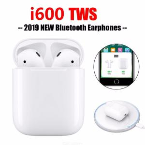 i600 TWS Arie 2 Wireless Earbuds Pop-up Bluetooth 5.0 Headphones Superb Bass Touch Control Wireless Charging Earphones - White