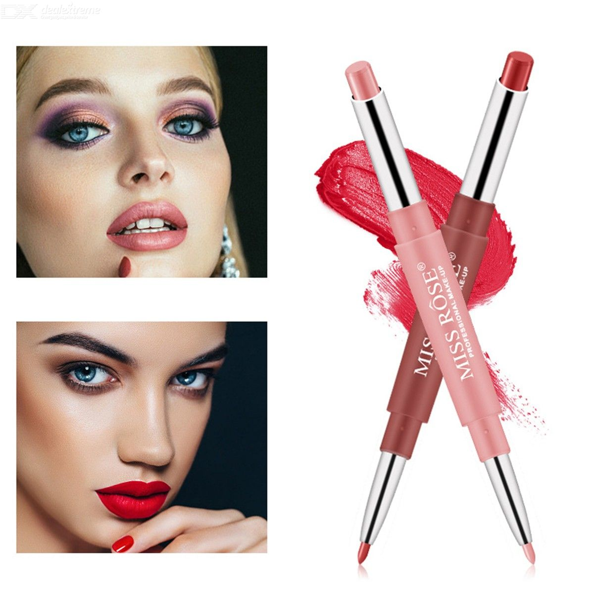 Womens 2-in-1 Matte Lipstick And Lip Liner Double-sized Long-lasting Lip Color