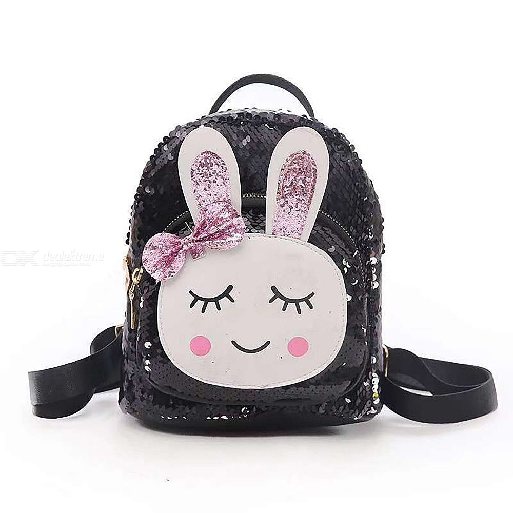 Children Backpack Fashionable Cute 3D Cartoon School Bag Decorated With  Sequins Bunny Wearing Barrette Clip For Girls