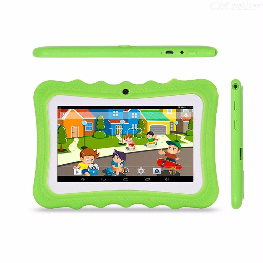 KB-07Tab Portable Cute 512MB RAM 8GB ROM Childrens 7 Inch Tablet With Non-Slip Protective Case For Kids