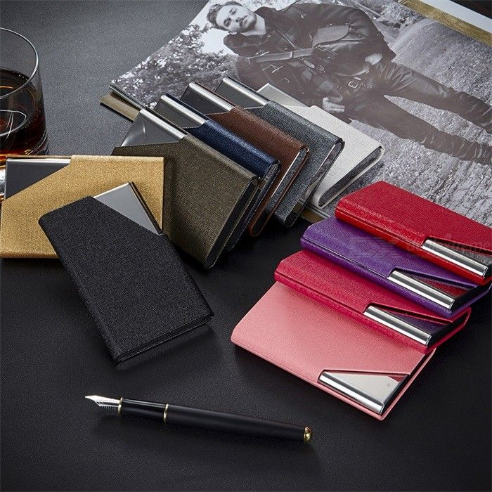Practical Stainless Steel Business Card Holder Creative ID Credit Wallet  For Women And Men