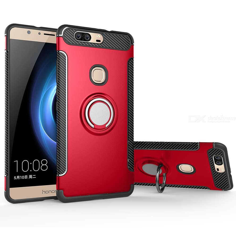 Full Protective Phone Case With Magnetic Ring Holder Back Cover Shockproof Shell For Honor V8