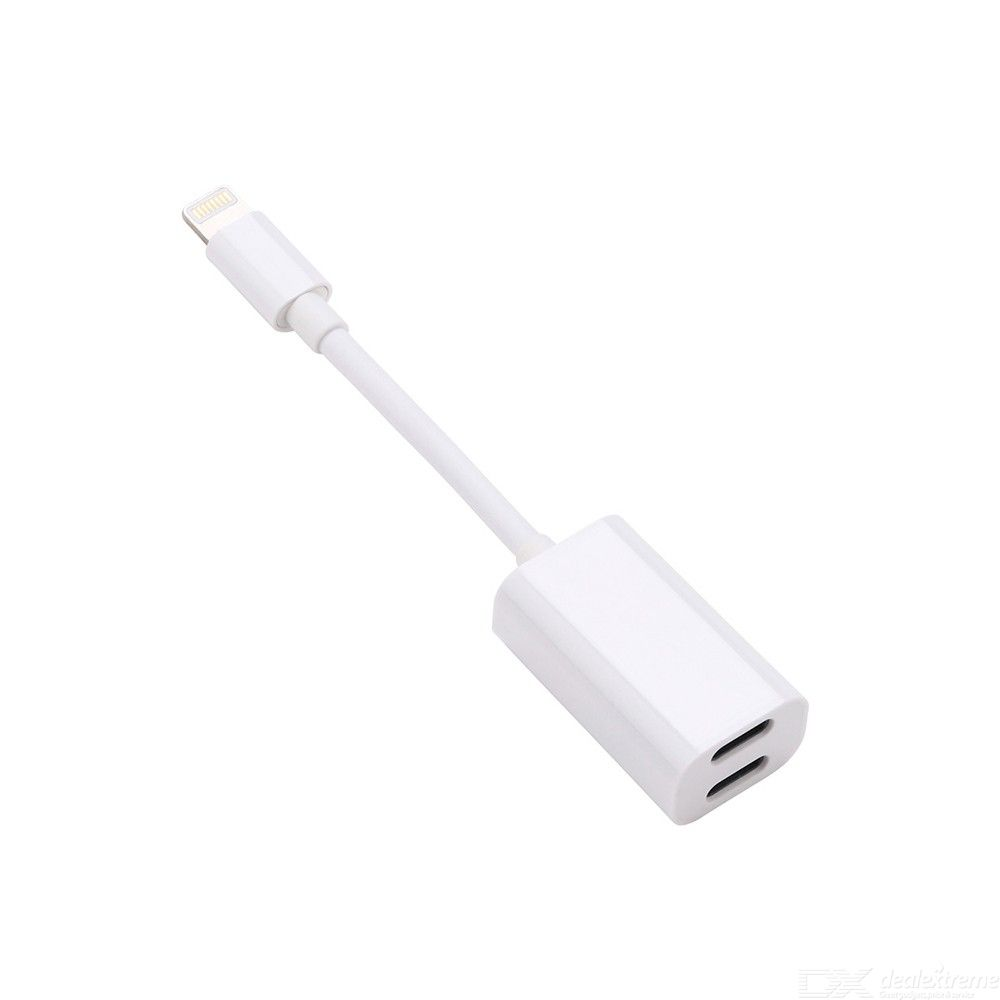 IPH-010 Portable Lightning Male To 2 Lightning Female Audio Adapter Converter Cable For IPhone