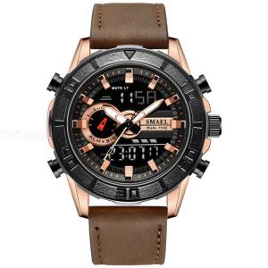 SMAEL 1411 Outdoor Sports Watch Waterproof Wristwatch With Leather Strap Multifunctional Digital Male Watches