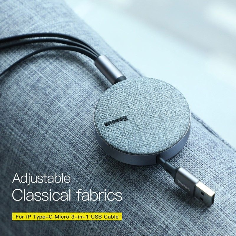 Baseus 3 in 1 Multi USB Charger Cable Retractable 1.2m 3.5A Fast Charging Cord with Lightning, Type C, Micro USB for iPhone Andr