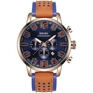 SMAEL 9077 Fashion Quartz Watch Casual Waterproof Wristwatch With Leather Strap Male Calendar Watches