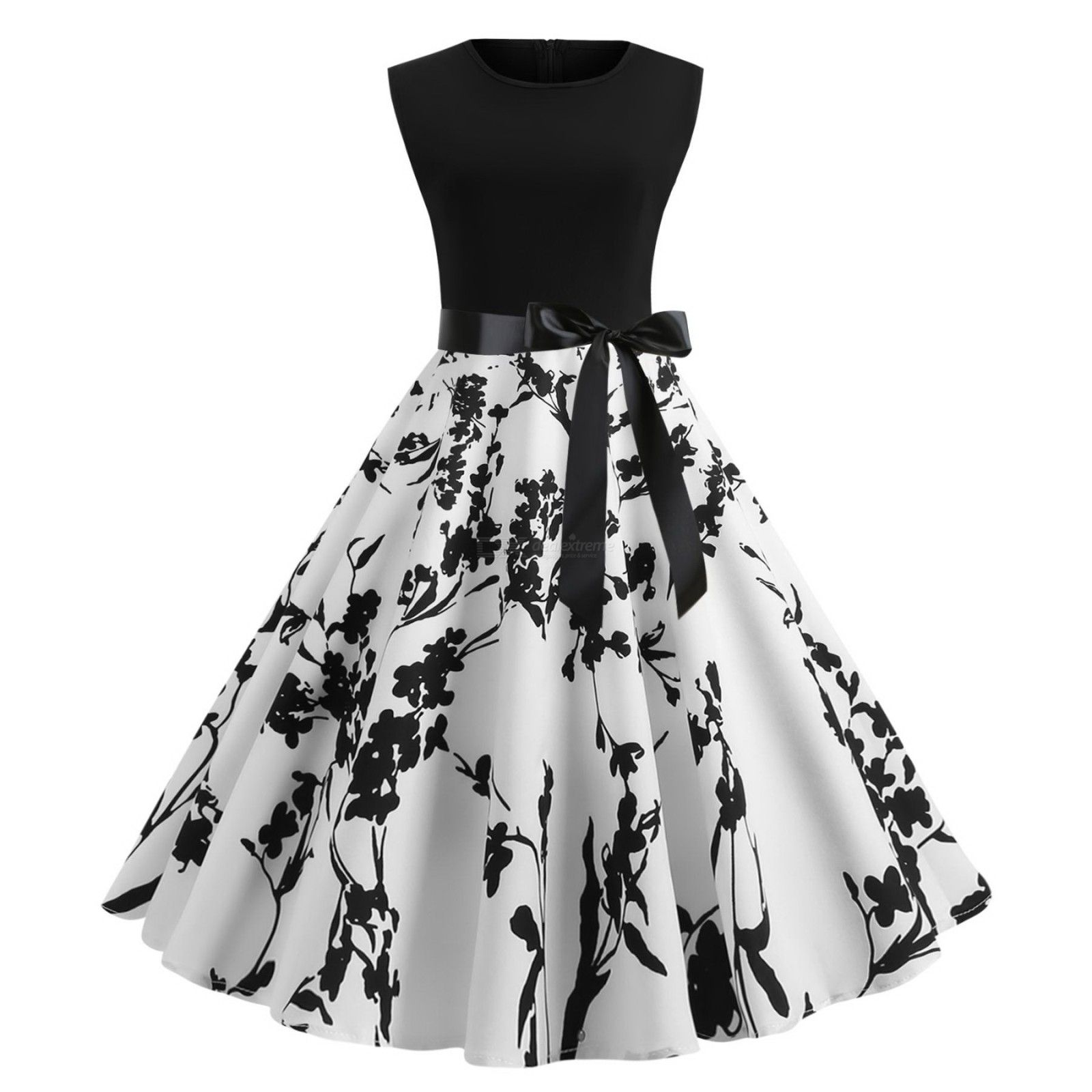 Sleeveless   Cocktail   Vintage   Swing   Party   Women   Dress   Print   Tie   Ty