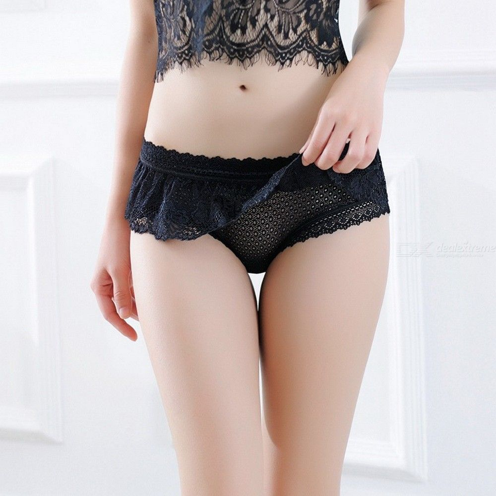 Womens Skirted Panties Sexy Lace Hollow Out Underwear