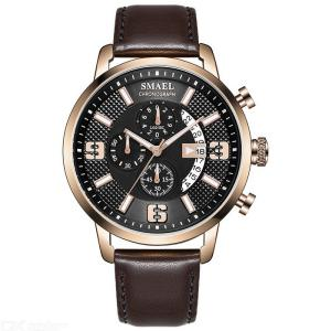 SMAEL 9078 Fashion Quartz Wristwatch Casual Waterproof  Watch With Leather Strap For Men