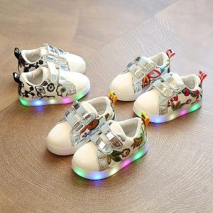 Girls LED Flashing Sneakers Non-slip Embroidered Shoes For Toddlers