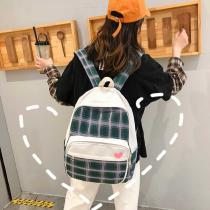 Fashion-Canvas-Backpack-Simple-Large-Capacity-Schoolbag-With-Grid-Pattern-For-Students